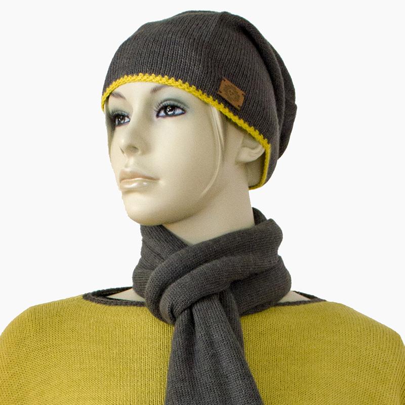 Mütze Alpaka Grau & Gelb