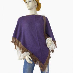 Poncho Alpaka Violett Fransen