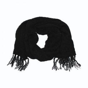 maxi scarf black alpaca boucle