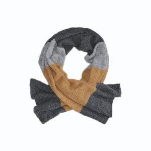 maxi shawl grey orange alpaca boucle