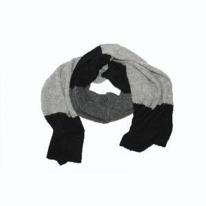 shawl black grey alpaca boucle